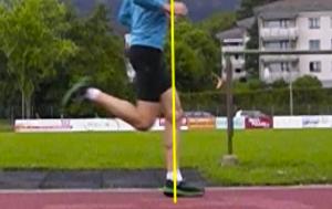 Passada Longa: tornozelo e calcanhar à frente do joelho